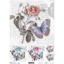 Papír rýžový A4 Růže a motýl