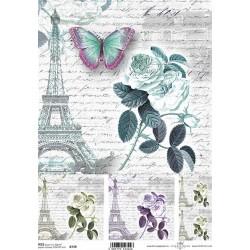 Papír rýžový A4 Růže, motýl, Eiffelovka