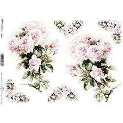 Papír rýžový A4 Světle růžové růže
