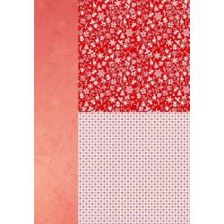 Papír na pozadí A4 - vánoční v červené, drobné motivy