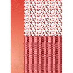 Papír na pozadí A4 - vánoční v červené, stromky 2