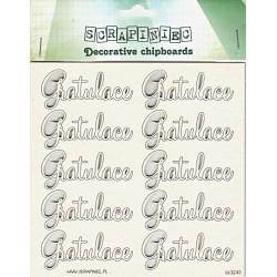 Gratulace - 10ks chipboards