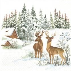 Malovaný zimní s jeleny 33x33