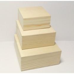Dřevěné krabice 3v1 - čtvercový tvar (se zvýšeným okrajem)