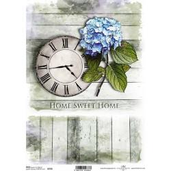 Papír rýžový A4 Home Sweet Home, hodiny a hortenzie