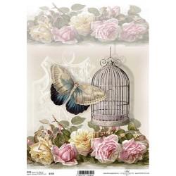 Papír rýžový A4 Klícka, motýl, růže světlé