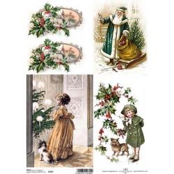 Papír rýžový A4 Vánoční retro, dívky s pejsky