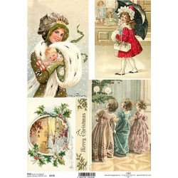 Papír rýžový A4 Vánoční, dívka s deštníkem
