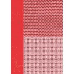Papír na pozadí A4 - vánoční v červené, stromky