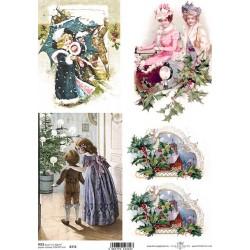 Papír rýžový A4 Vánoční, děti u stromku