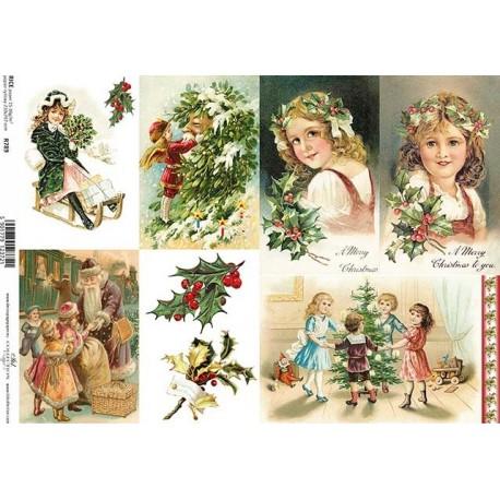 Papír rýžový A4 Vánoční přání, osm obrázků