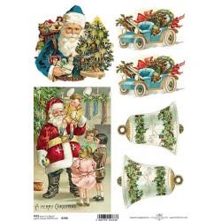 Papír rýžový A4 Modré vánoční auto, A Merry Christmas