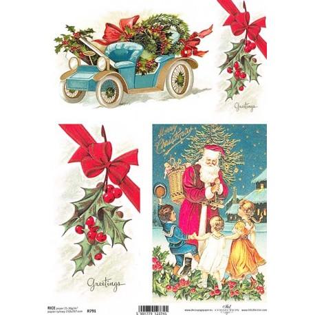 Papír rýžový A4 Modré vánoční auto, větvičky cesmíny