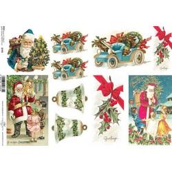 Papír rýžový A4 Modré vánoční auto, zvonky