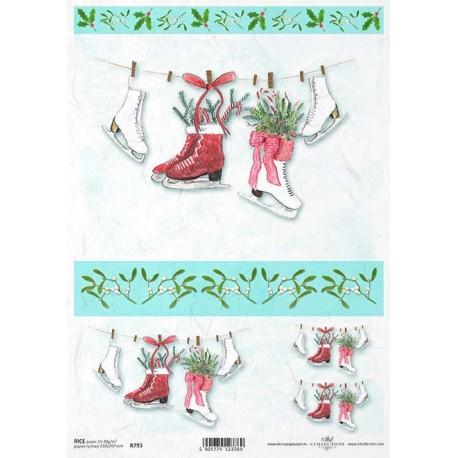 Papír rýžový A4 Vánoční s bruslemi