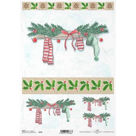 Papír rýžový A4 Vánoční, pruhovaná šála