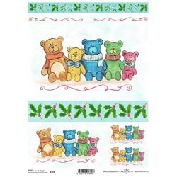 Papír rýžový A4 Vánoční, barevní medvídci