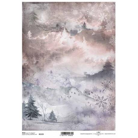 Papír rýžový A4 Zimní pozadí, stromky, los