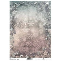 Papír rýžový A4 Zimní pozadí, vločky na růžovomodrém