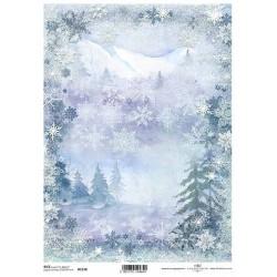 Papír rýžový A4 Zimní pozadí, stromky, hory