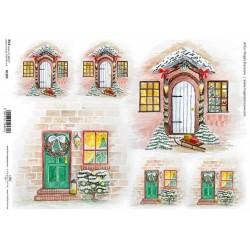 Papír rýžový A4 Dřevěné dveře s vánoční dekorací