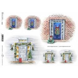 Papír rýžový A4 Modré dveře s vánoční dekorací