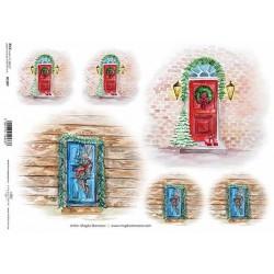 Papír rýžový A4 Červené dveře s vánoční dekorací
