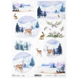 Papír rýžový A4 Zimní motiv, stromky, zvířátka