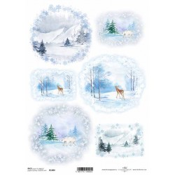 Papír rýžový A4 Zimní motiv, hory, les