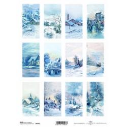 Papír rýžový A4 Zimní obrázky, domodra