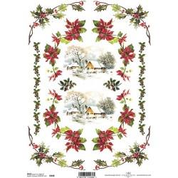 Papír rýžový A4 Vánoční, zasněžené domky, okraje s cesmínou