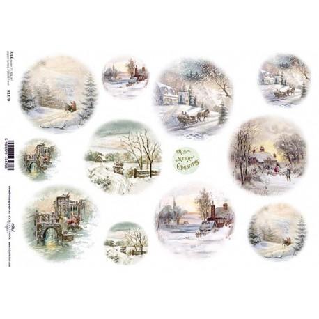 Papír rýžový A4 Zimní motivy v kruzích