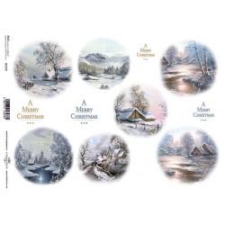 Papír rýžový A4 Zimní motivy v kruzích, krajina s řekou