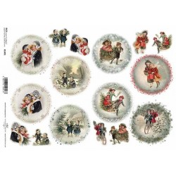 Papír rýžový A4 Zimní motivy na vánoční baňky II.