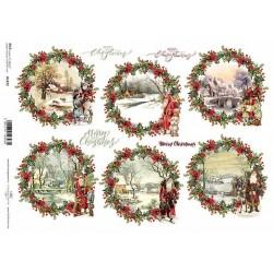 Papír rýžový A4 Vánoční obrázky v kruzích s dekorací okolo
