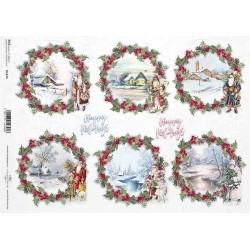 Papír rýžový A4 Vánoční obrázky v kruzích s cesmínou okolo