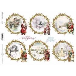 Papír rýžový A4 Vánoční obrázky v kruzích, nadílka