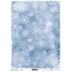 Papír rýžový A4 Sněhové vločky na modré
