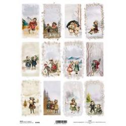 Papír rýžový A4 Zimní obrázky, děti