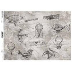 Papír rýžový A4 Stará mapa, letecké motivy