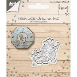 Vyřezávací šablona - kotě a vánoční koule (JC)