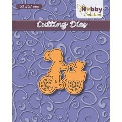 Vyřezávací šablona - Dívka na kole s košíkem (Nellie´s Choice)