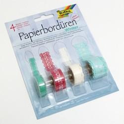 Papírové bordury Winter - samolepící, 4 druhy