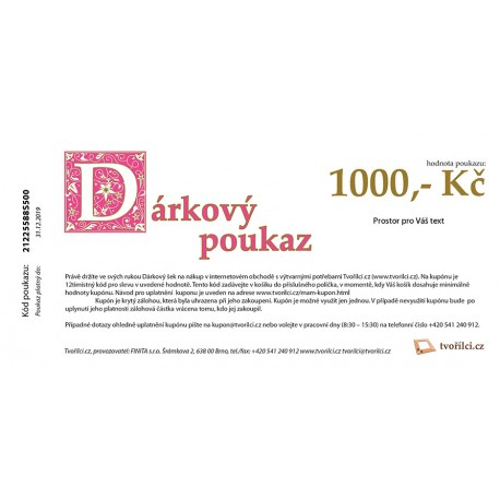 1000 Kč - Dárkový poukaz Tvořílci.cz