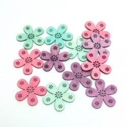 Dřev.dekorace barevné - květy 4cm, 12ks, pastelové