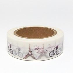 Papírová páska 15mm/10m - kolo s košíkem, Eiffelovka