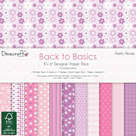 Sada papírů 15x15 Back to Basics Pretty Petals (Dovecraft)