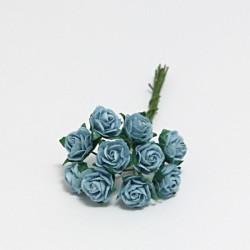 Papírová růžička 1cm, baby modrá, 10ks