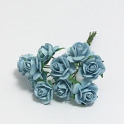 Papírová růžička 1,5cm, baby modrá, 10ks