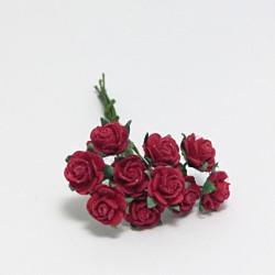 Papírová růžička 1cm, červená, 10ks
